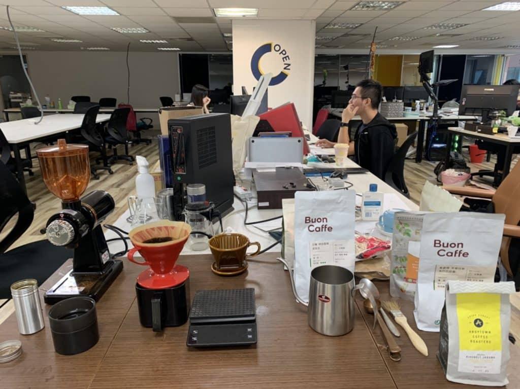 辦公室內手沖咖啡區